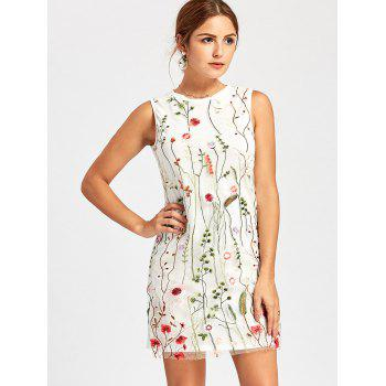 Floral Embroidered Mesh Panel Tunic Dress - WHITE WHITE