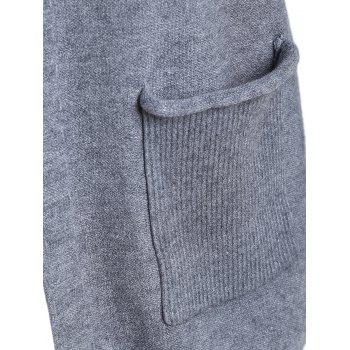 Plus Size Open Front Pocket Cardigan - GRAY 4XL