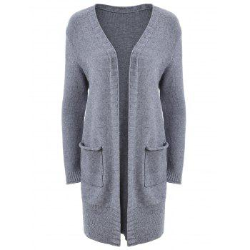 Plus Size Open Front Pocket Cardigan - GRAY GRAY