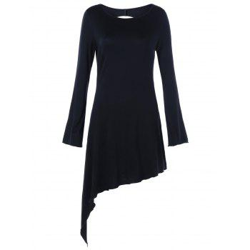 Star Cut Out Long Sleeve Asymmetric Dress - BLACK BLACK