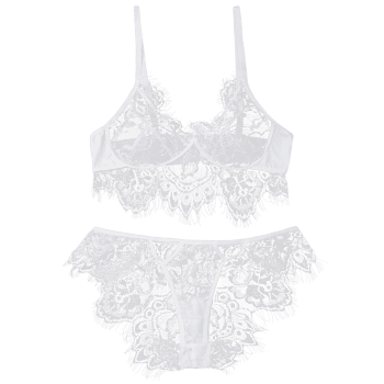 Eyelash Lace Bralette Set - WHITE WHITE