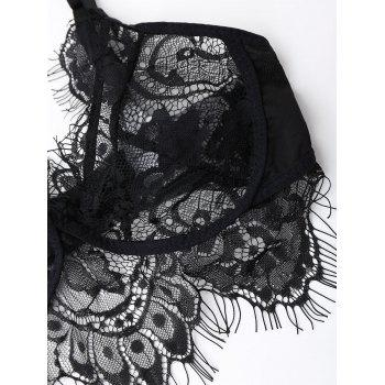 Eyelash Lace Bralette Set - BLACK BLACK