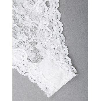 See Through Cami Lace Teddy - WHITE L