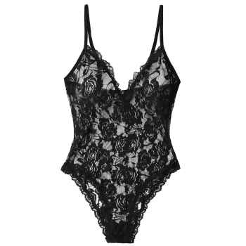 See Through Cami Lace Teddy - BLACK M