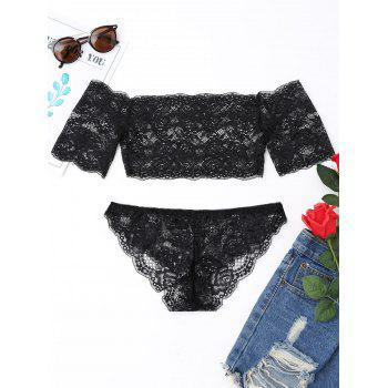Lace Tube Bra Set with Sleeve - BLACK BLACK