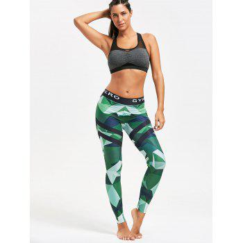 Triangle Pattern Yoga Leggings - GREEN GREEN