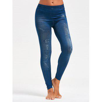 Faux Faded Jeggings - BLUE BLUE