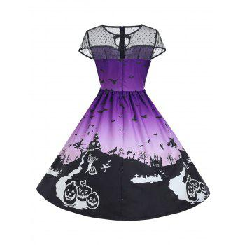 Halloween Mesh Insert Vintage A Line Dress - PURPLE S