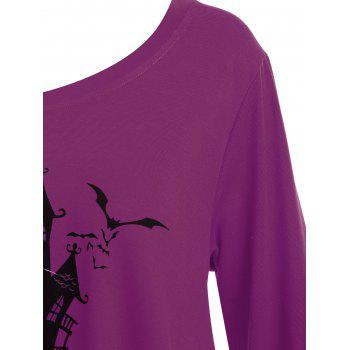 Plus Size Happy Halloween Long Asymmetric T-shirt - PURPLE 5XL