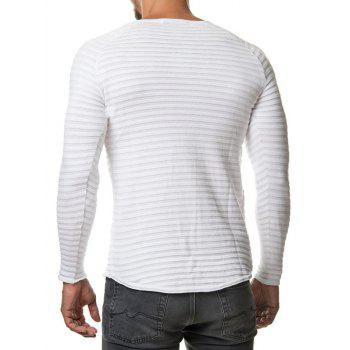 Raglan Sleeve Ribbed Slim Fit Tee - WHITE WHITE