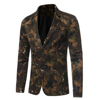 Lapel 3D Camouflage Single Breasted Blazer - GREEN 3XL