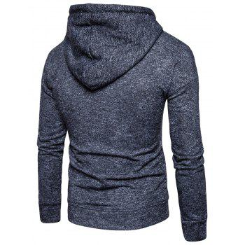 Drawstring Drop Shoulder Knitted Pullover Hoodie - BLACK L