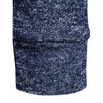Drawstring Drop Shoulder Knitted Pullover Hoodie - CADETBLUE M