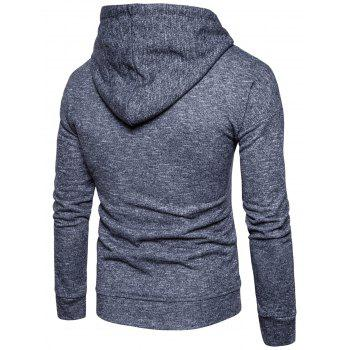 Drawstring Drop Shoulder Knitted Pullover Hoodie - DEEP GRAY L