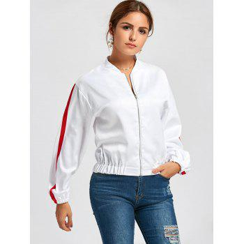 Zipper Fly Striped Bomber Jacket - WHITE S