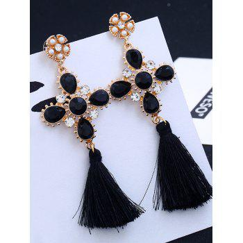 Rhinestone Floral Cross Tassel Earrings - BLACK BLACK