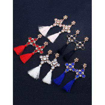Rhinestone Floral Cross Tassel Earrings - BLACK