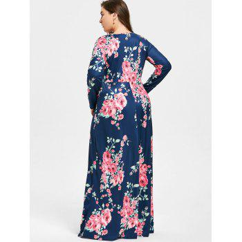 Plus Size Rose Print V Neck Maxi Dress - PURPLISH BLUE 5XL