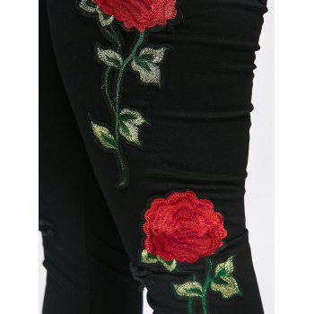 Plus Size Destroyed  Floral Patched Tight Jeans - BLACK 3XL