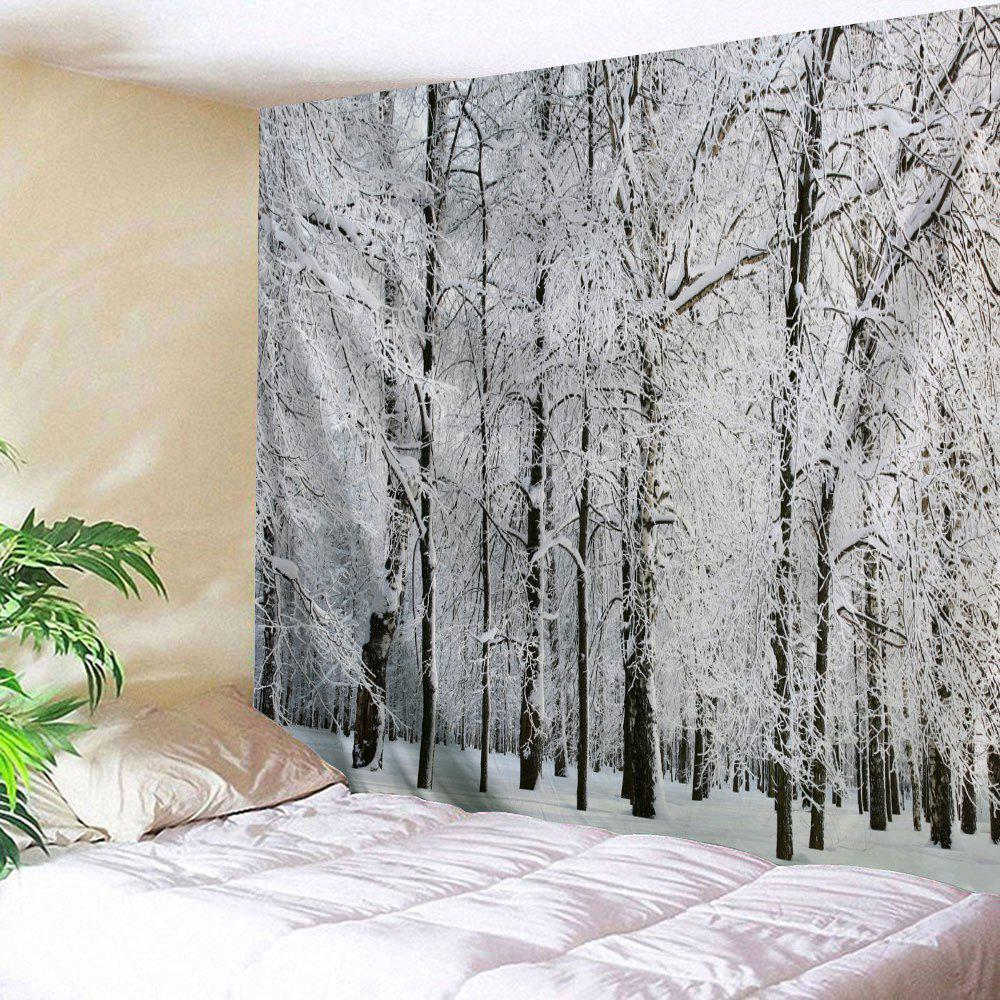 Snowy Forest Print Tapestry Wall Hanging Art forest wooden bridge print tapestry wall hanging art