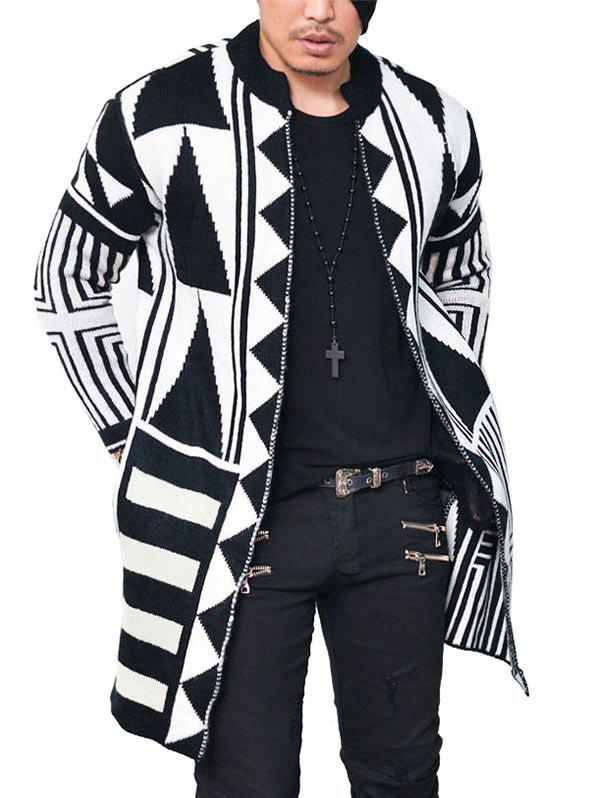 Tribal Geometric Pattern Open Cardigan geometric pattern open front cardigan
