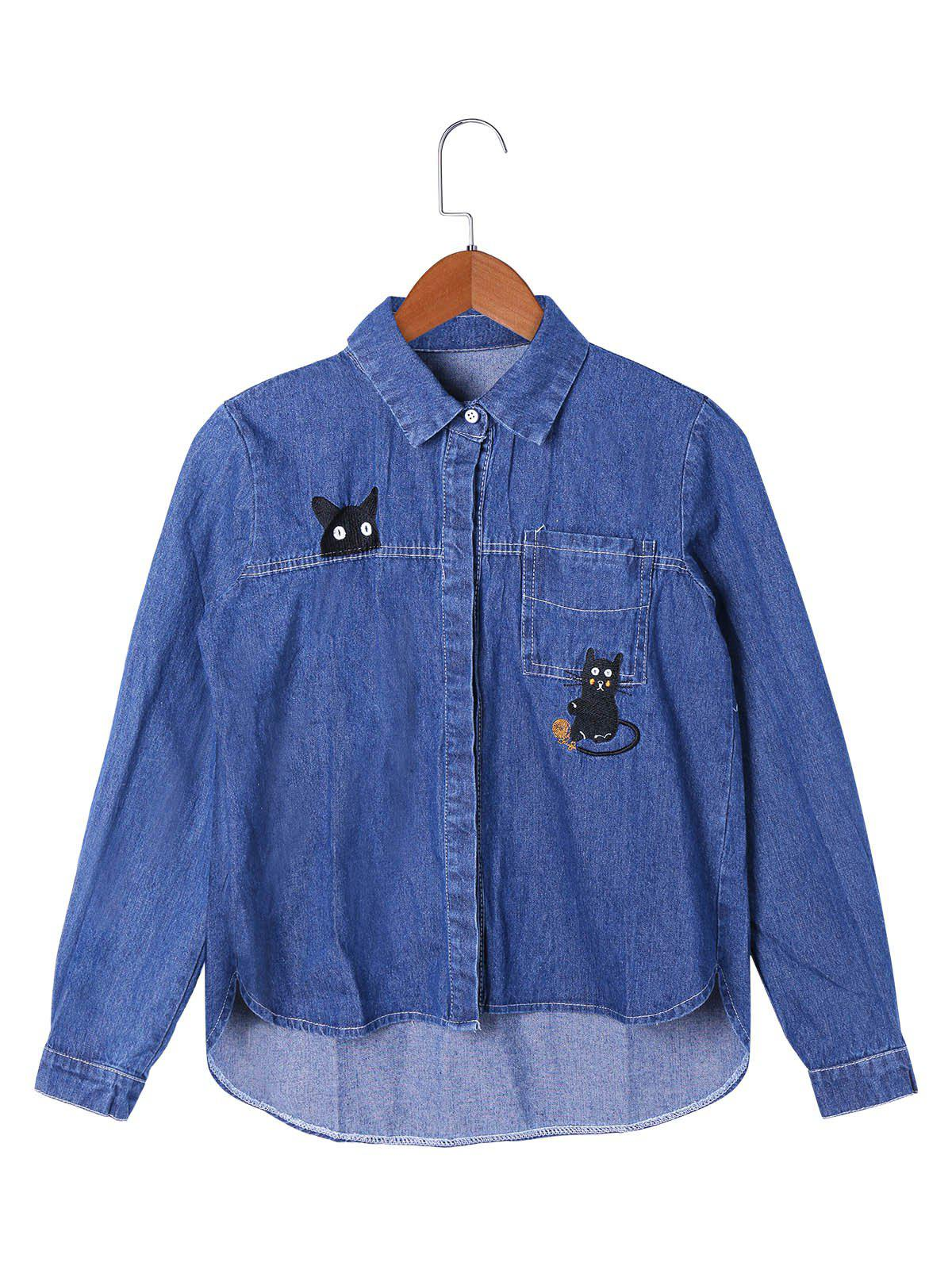 Patch Pocket High Low Hem Shirt Jacket - BLUE L