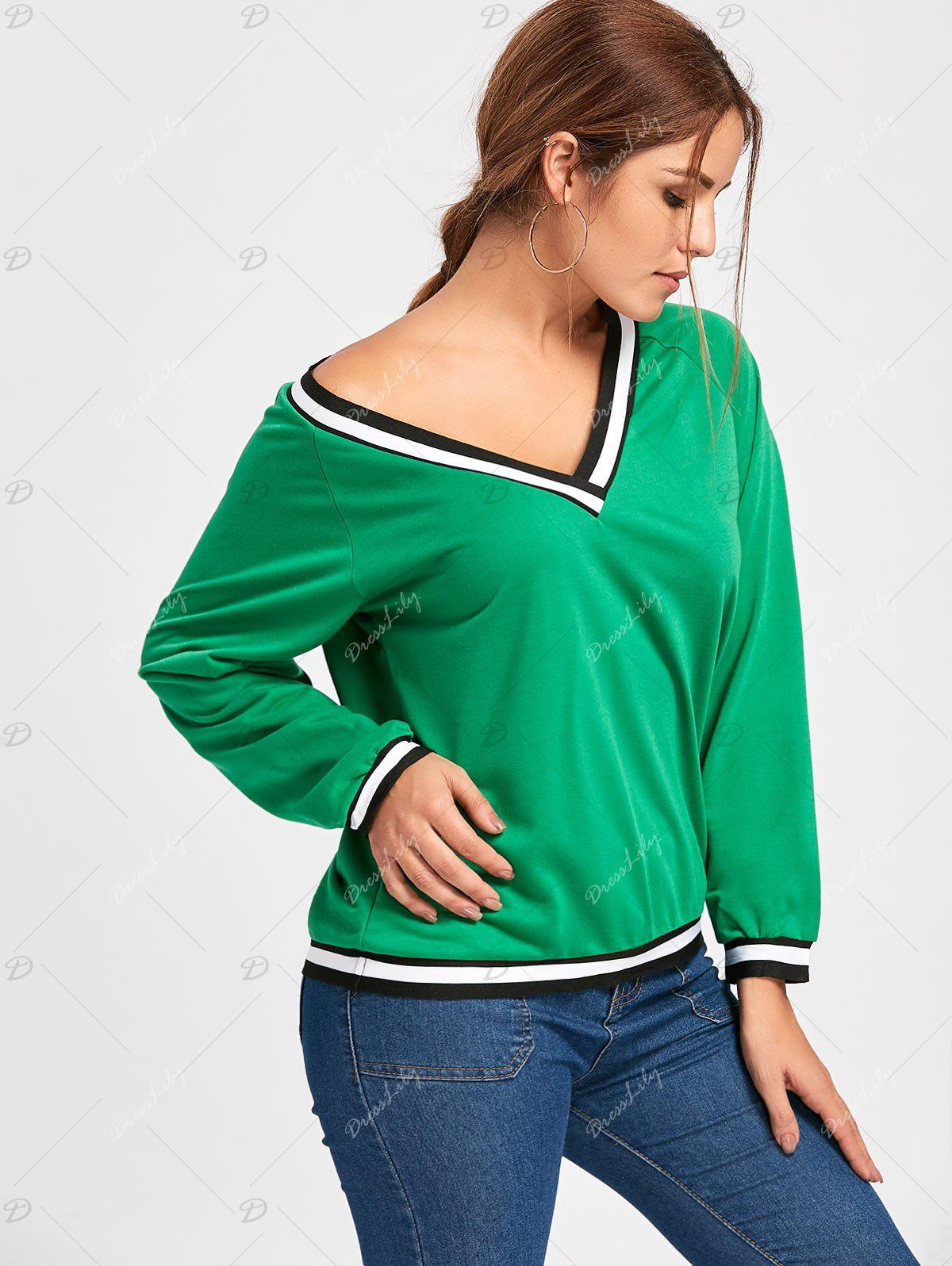 Contrast V Neck Long Sleeve Top - GREEN XL