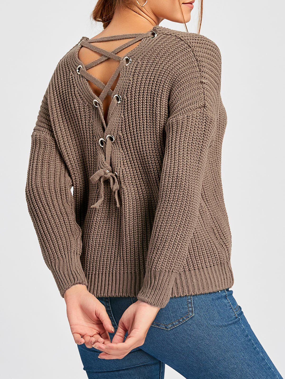 Back Lace-up Scoop Neck Sweater - COFFEE ONE SIZE