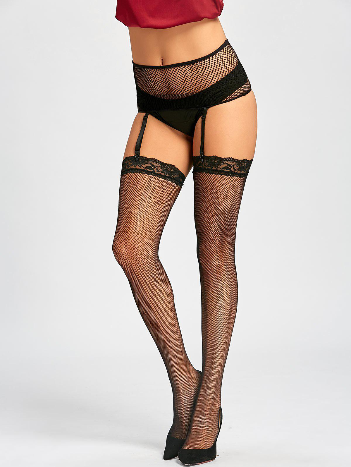 Fishnet See Through Garter Stockings see through fishnet pantyhose