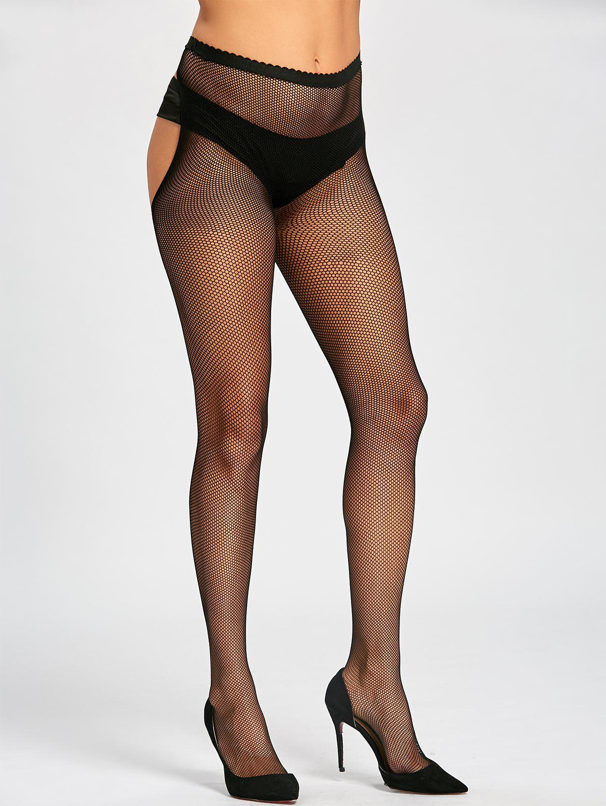 Fishnet Sheer Cut Out Tights - BLACK ONE SIZE