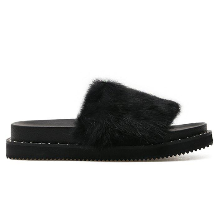 PU Leather Faux Fur Slide Sandals - BLACK 38