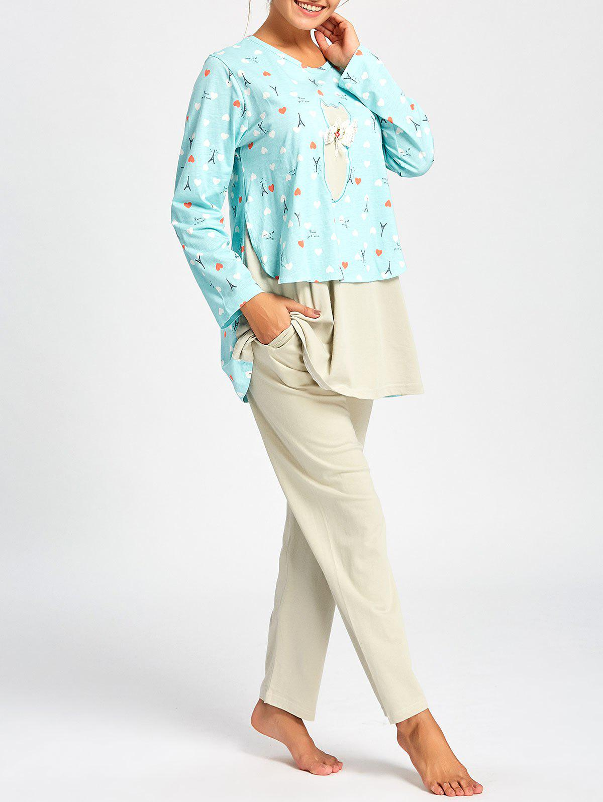 Long Sleeve Nursing PJ Set with Pattern - CLOUDY M