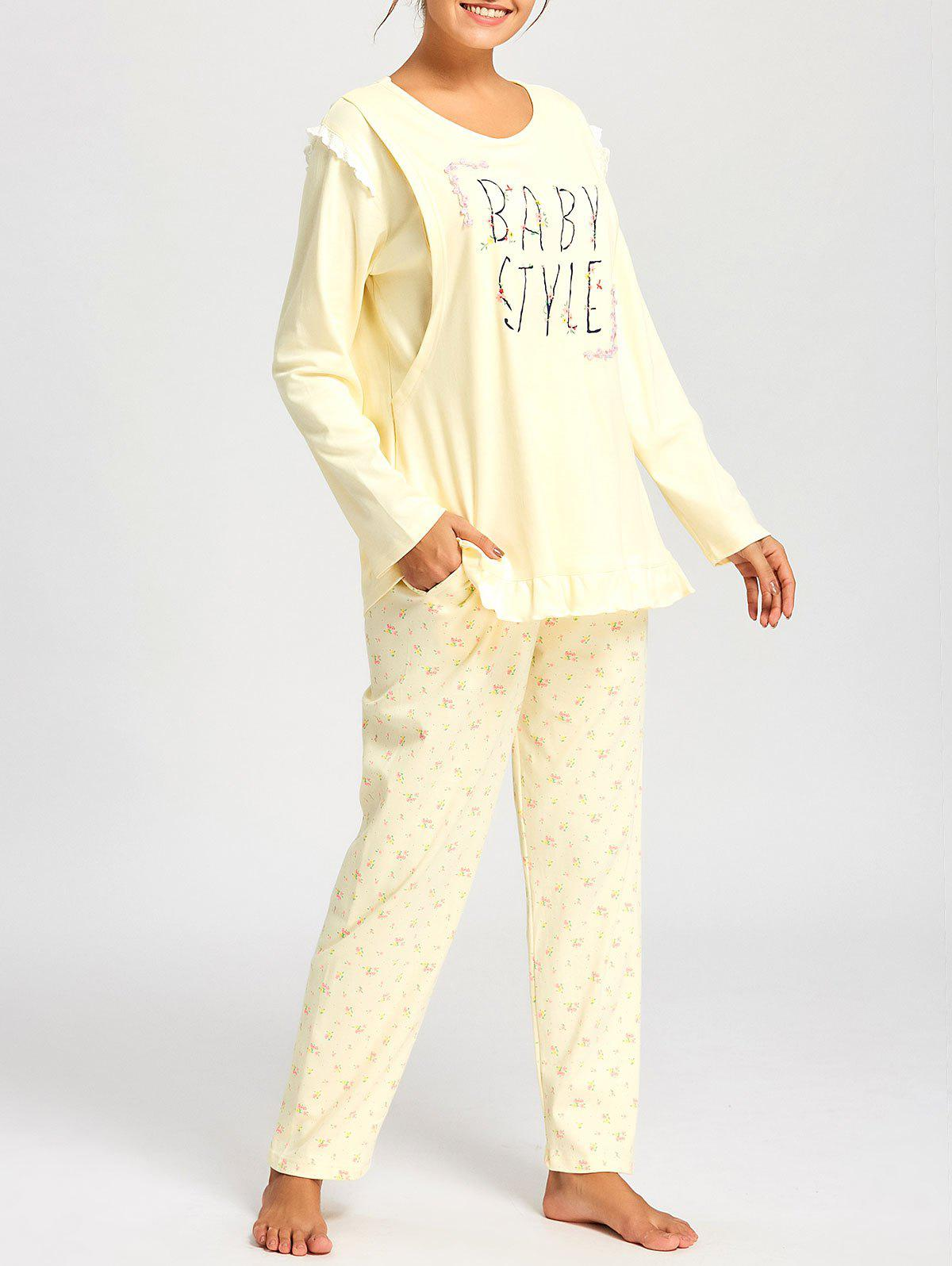 Floral Nursing Cotton Pajamas Set - LIGHT YELLOW M