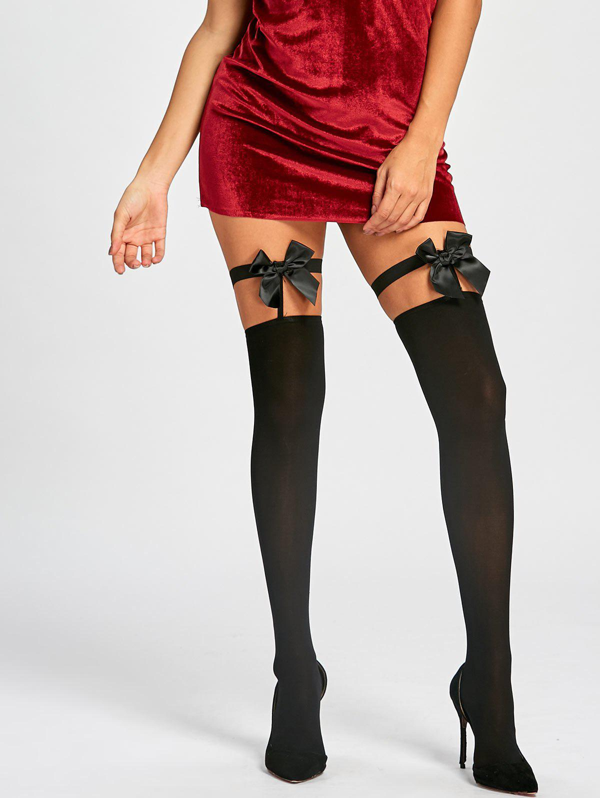 Overknee Cut Out Stockings with Bowknot - BLACK ONE SIZE