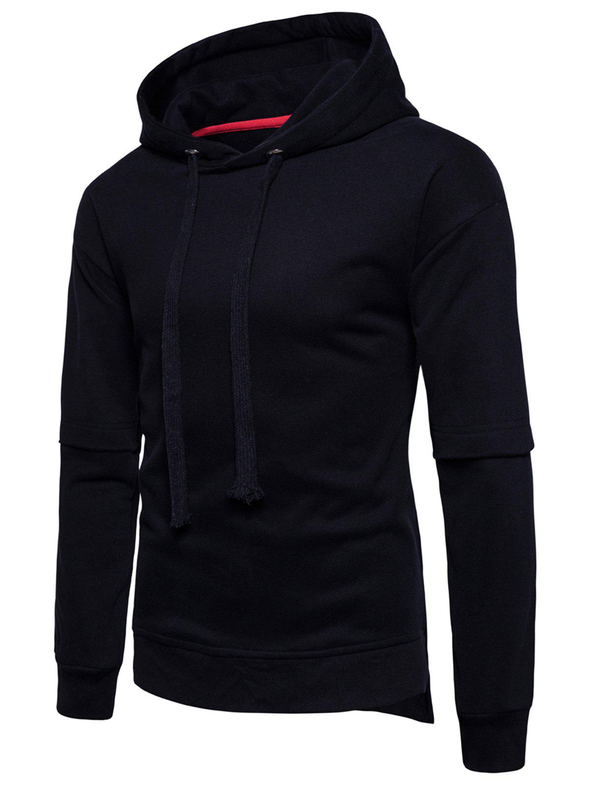 Side Slit Fleece Drop Shoulder Pullover Hoodie - BLACK M