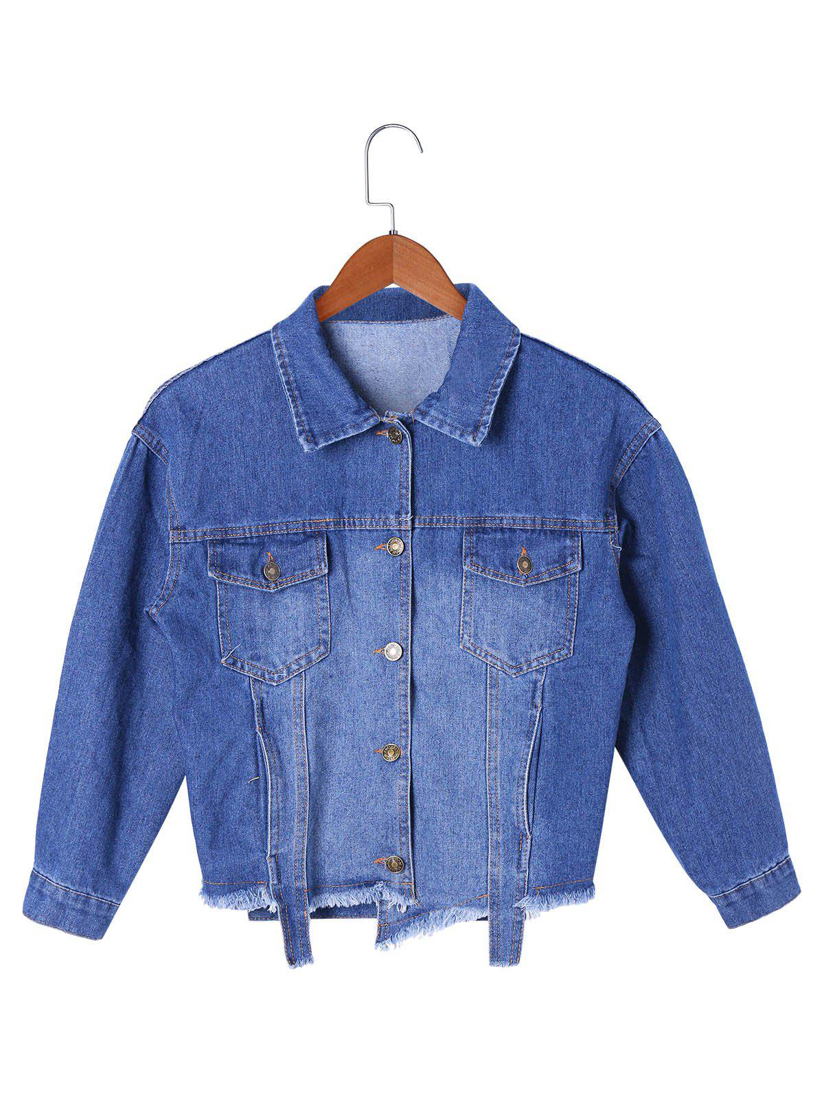 Frayed Hem Denim Short Jacket - DENIM BLUE L