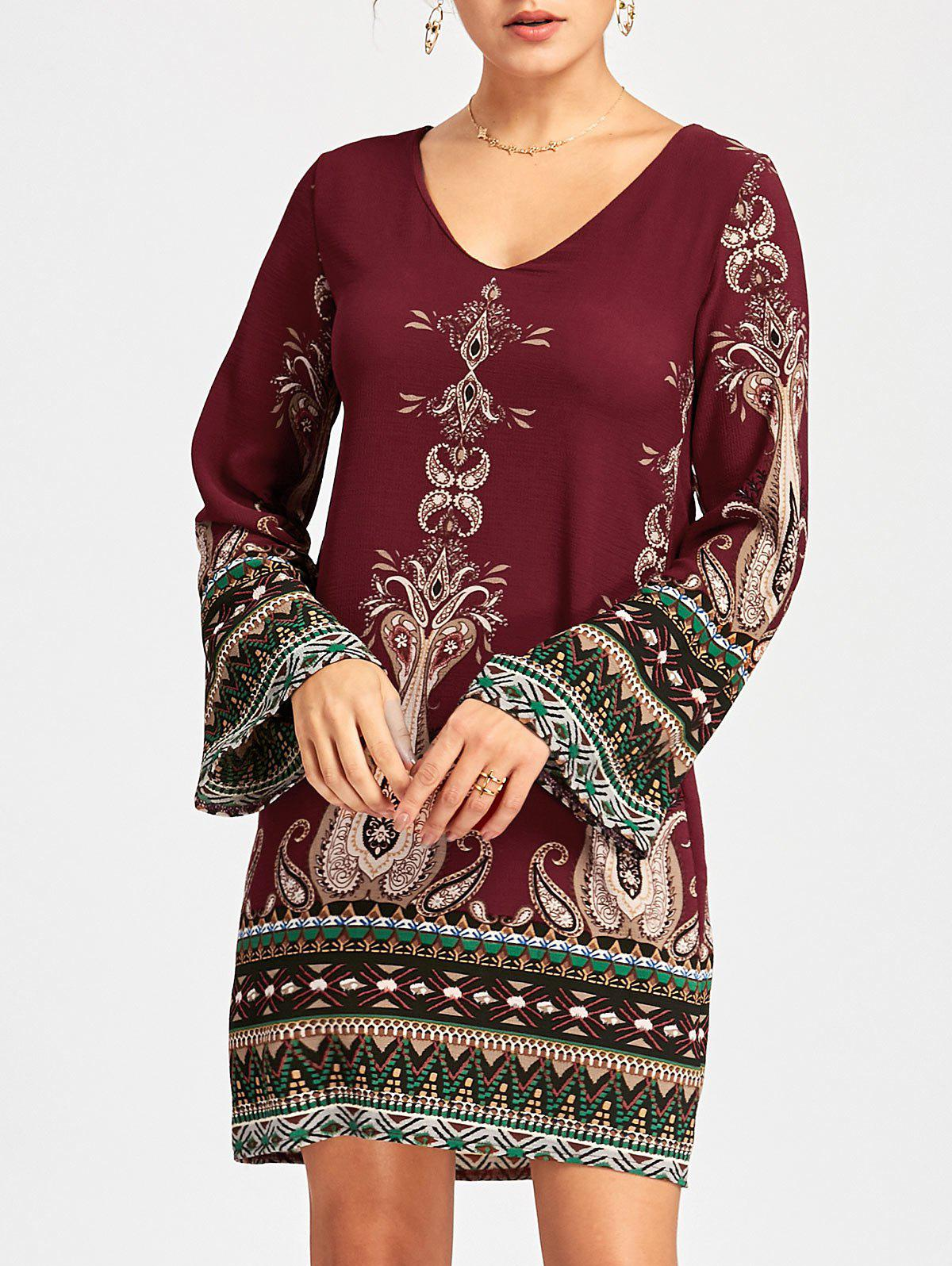 Bohemian Bell Sleeve Graphic Mini Dress - WINE RED XL