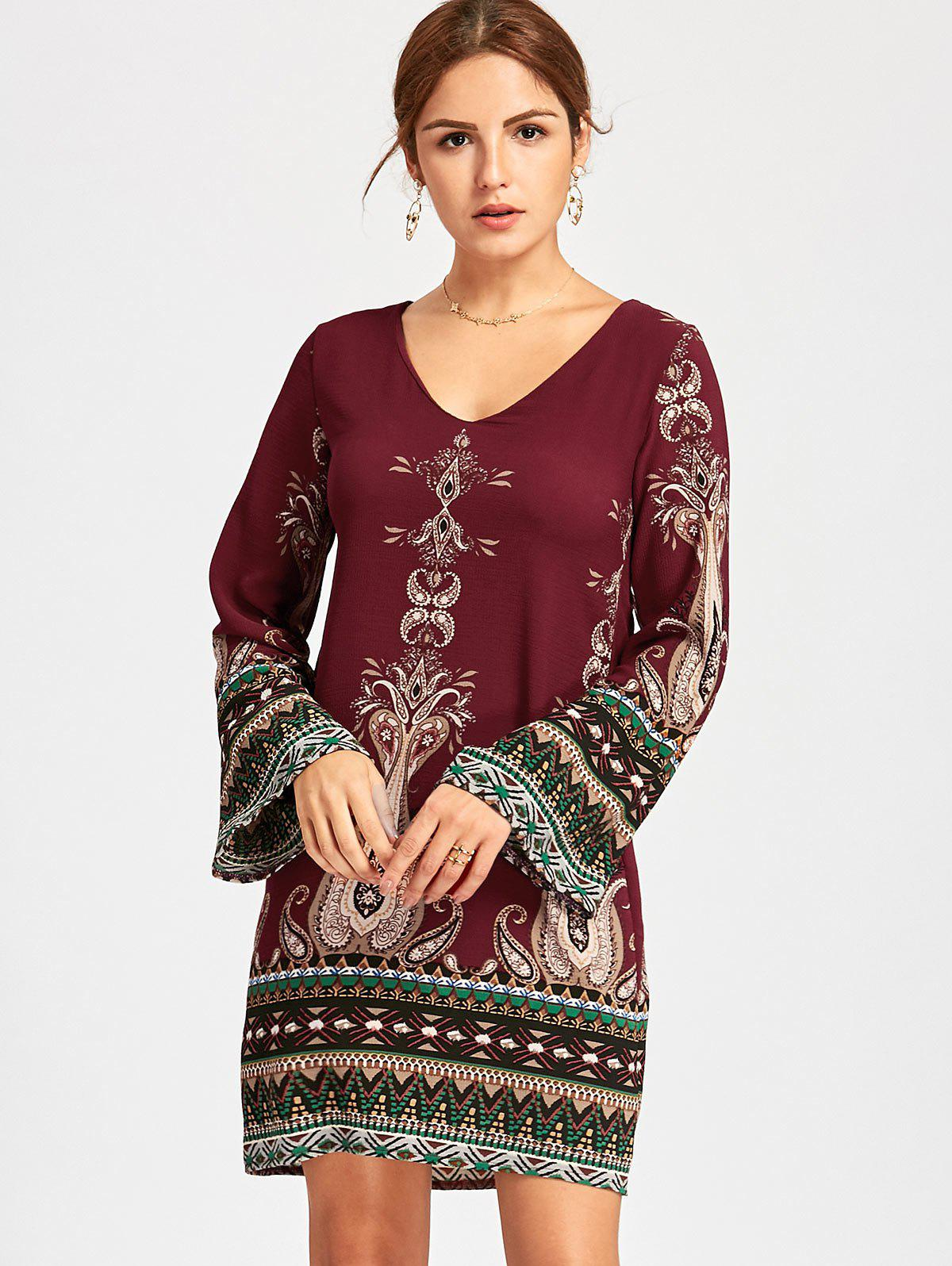 Bohemian Bell Sleeve Graphic Mini Dress - WINE RED M