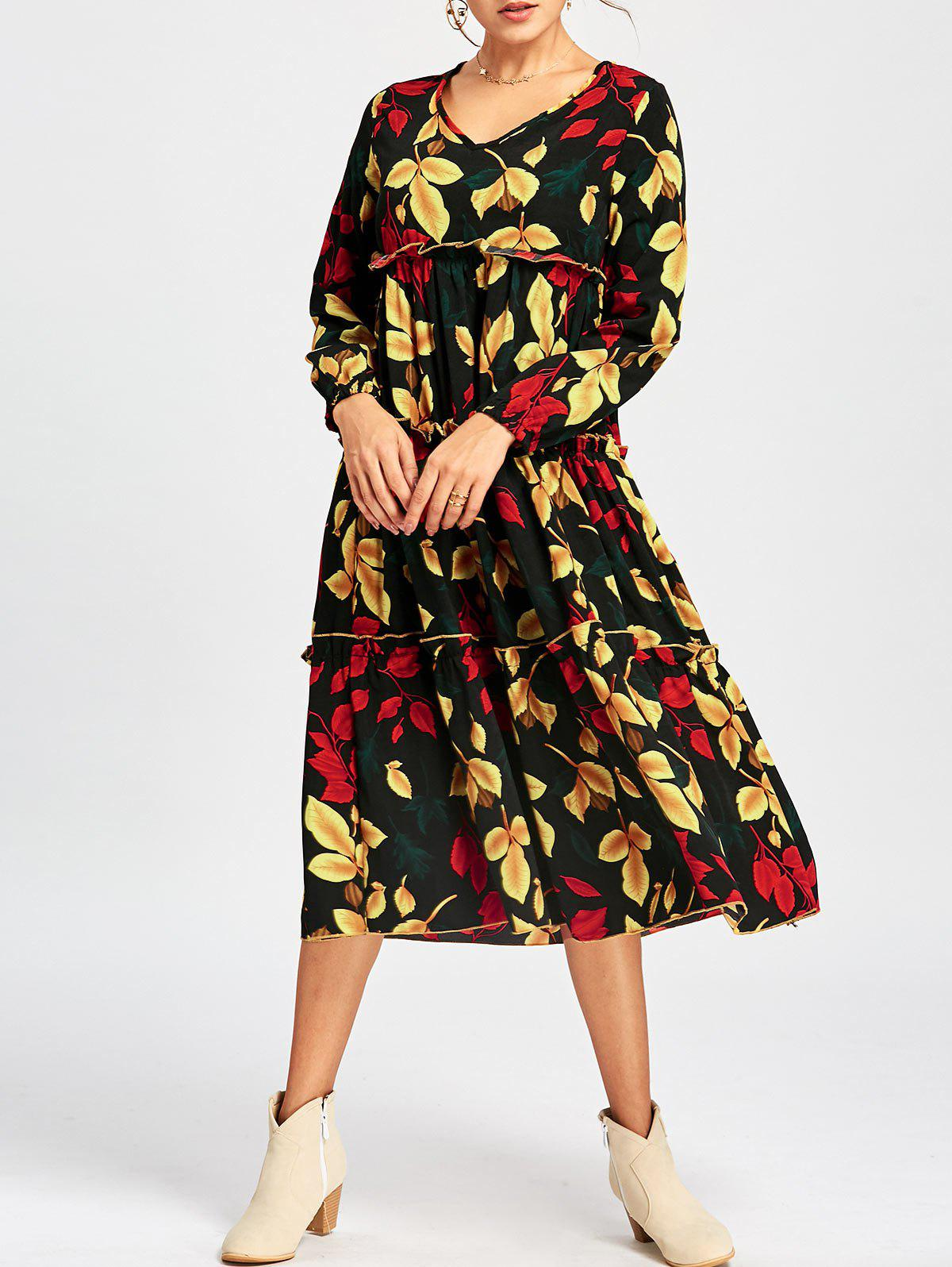 V Neck Leaf Print Midi Dress - COLORMIX XL