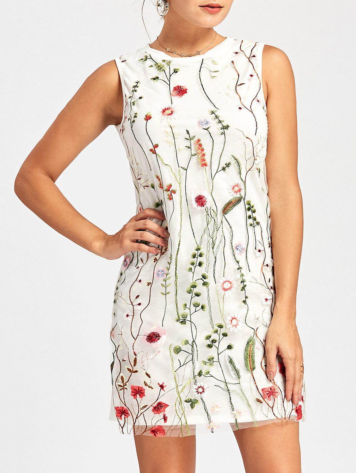 Floral Embroidered Mesh Panel Tunic Dress - WHITE L