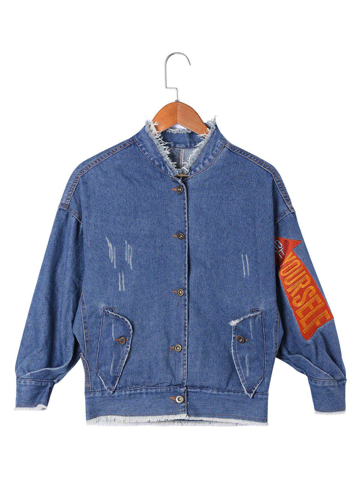 Applique Frayed Denim Jacket - DENIM BLUE M