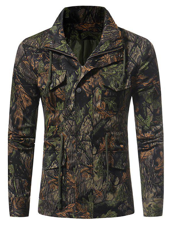 Zip Up 3D Jungle Print Fatigue Jacket - DEEP GREEN L