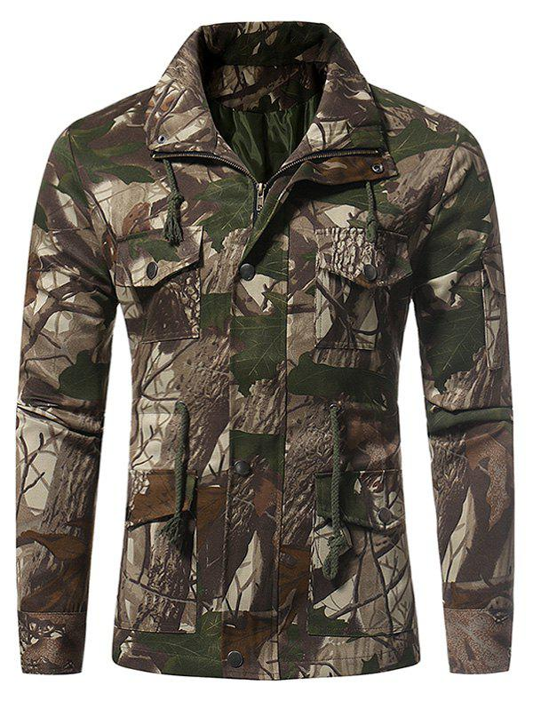Zip Up 3D Jungle Print Fatigue Jacket - LIGHT GREEN L