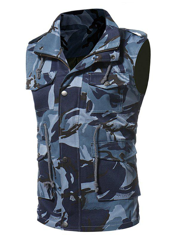 Zip Up Camouflage Fatigue Waistcoat - BLUE L