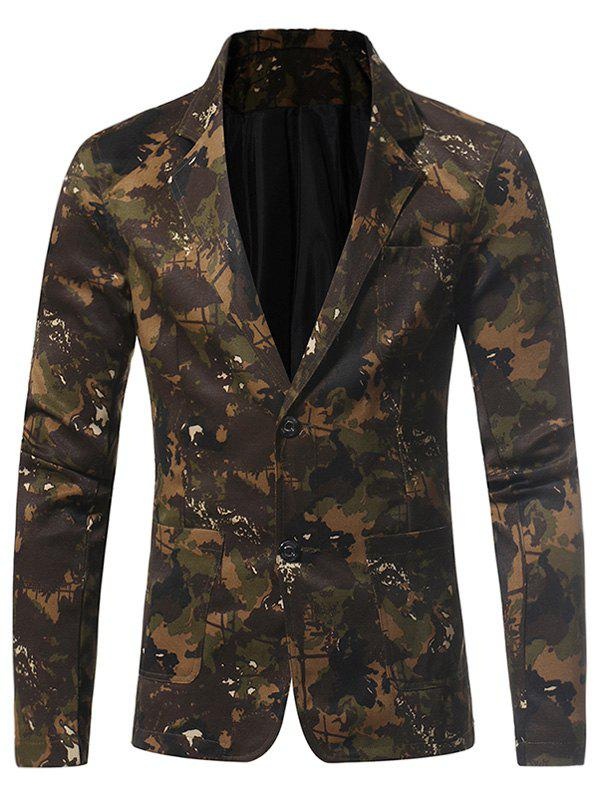 Lapel 3D Camouflage Single Breasted Blazer - GREEN M