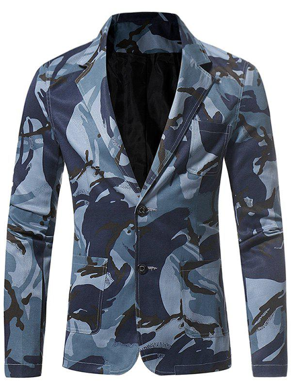 Lapel 3D Camouflage Single Breasted Blazer - BLUE XL