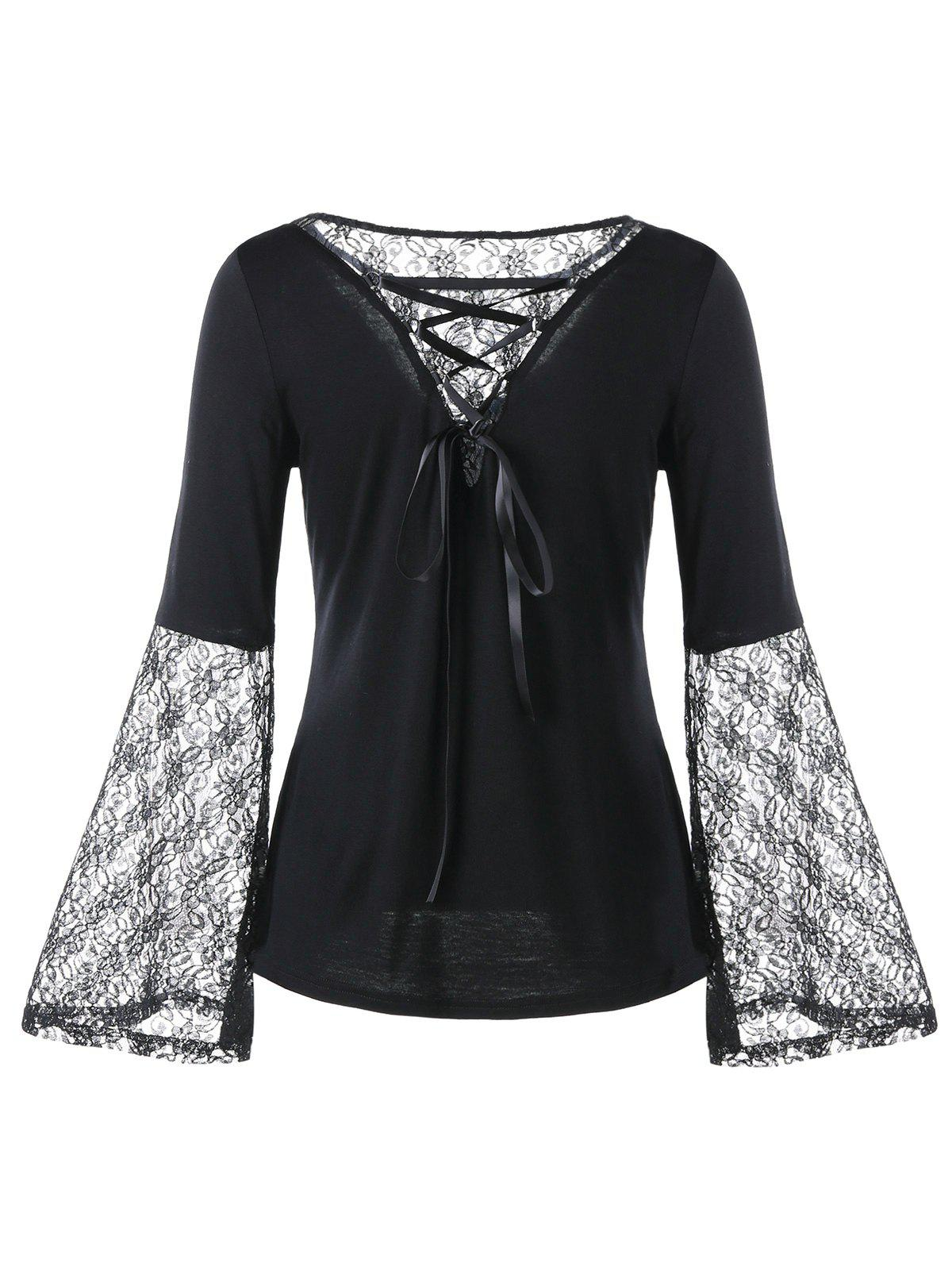 Lace Panel Flare Sleeve Lace Up Blouse