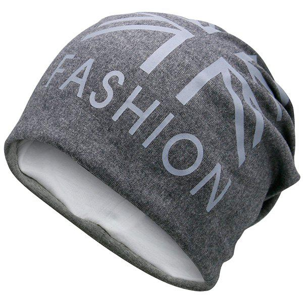 Flag Printed Fal Knitting Beanie Hat - DEEP GRAY