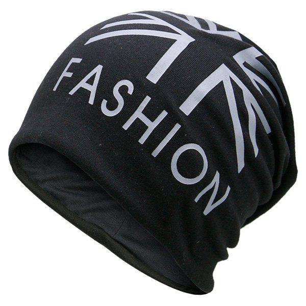 Flag Printed Fal Knitting Beanie Hat - BLACK