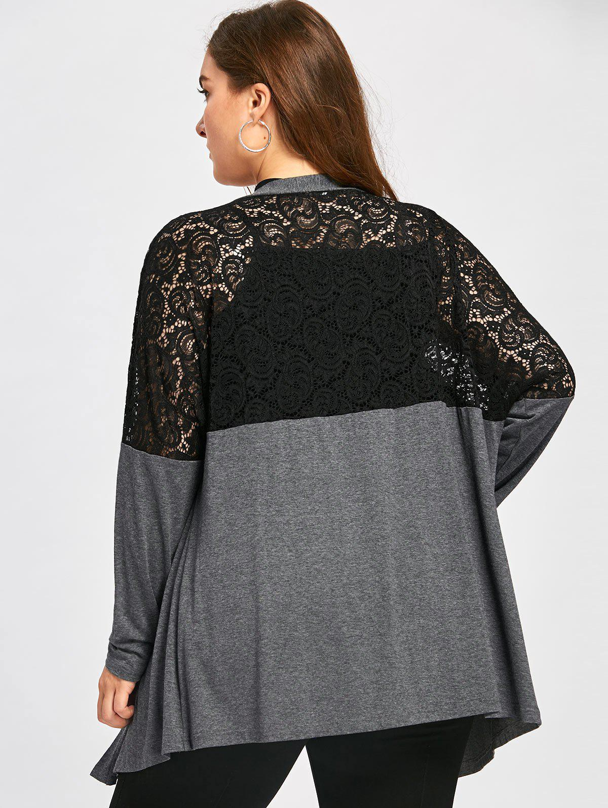 Plus Size Lace Yoke Marled Cardigan - DEEP GRAY 5XL